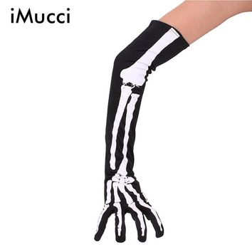 iMucci Women Halloween Skeleton Gloves Arm Half-finger Sleeves Personality Ghost Fingers Gloves Warm Autumn Winter