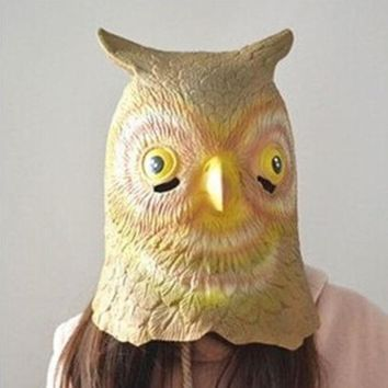 Owl Head Mask Rubber Latex Animal Costume Full head Mask Halloween Costume Fancy
