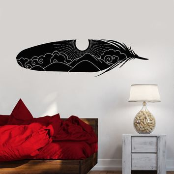 Vinyl Wall Decal Art Home Interior Bird Feather Sky Sun Stickers (2874ig)