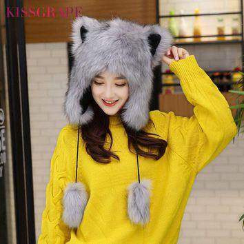 Winter Fox Fur Caps Women's Warm Caps Hats with Cat Ears Ladies Cute Caps Beanies with Ear Flaps Kids Warm Party Cap Female Gift