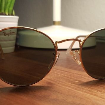 VINTAGE B&L RAY BAN ROUND WIRE AVIATORS SUNGLASSES HIPPY 70S RETRO