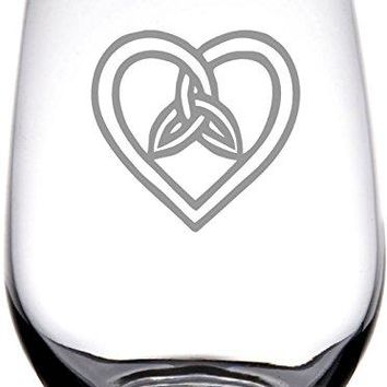 IE Laserware Irish Celtic Heart and Trinity Knot Laser Etched Engraved Wine Glass 17 Ounce Stemless Wine Glass Great Irish Gift