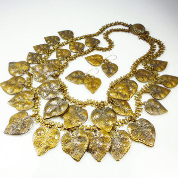 Vintage Necklace Earrings Fall Leaves Gold Brass Leaf Charms Bookchain Statement Jewelry