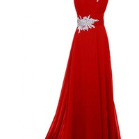 VILAVI Women's A-line One Shoulder Long Chiffon Appliques Crystal Evening Dresses