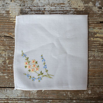 Vintage Embroidered Ladies Hankie White Cotton with Yellow & Orange Daisies and Bluebell Floral Sprays, Womens Bridal Handkerchief