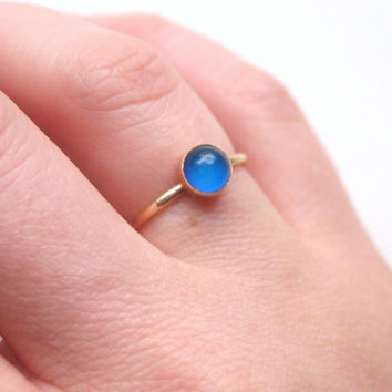 Tiny, Dainty, Small 14kt Gold Mood Ring Color Changing