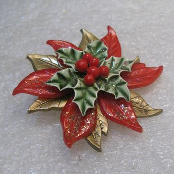 """Vintage Poinsettia Christmas Brooch, Layered, 1960's, 2"""" Spins, Red, Green, Gold"""