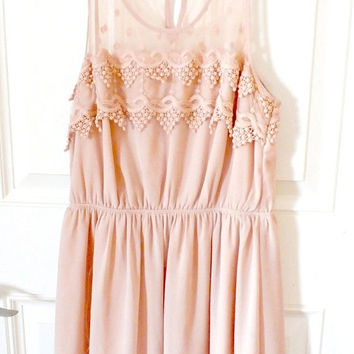 vintage peach/nude chiffon sleeveless mini dress retro spring summer mesh lace keyhole dress formal dress prom dress