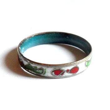 White Cloisonne Enamel Ring Band Vintage Floral Flower Green Red Blue Size 7