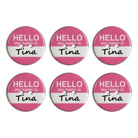 Tina Hello My Name Is Plastic Resin Button Set of 6
