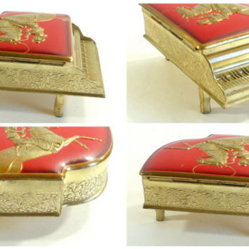 Vintage Cowboy Western Piano Shaped Jewelry Trinket Box Marry Me Engagement Ring Box Vintage Trinket Jewelry Box Cowboy On Horse Western Box