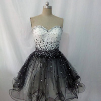 Sweetheart White and Black Short  Ball Gown Homecoming Dress