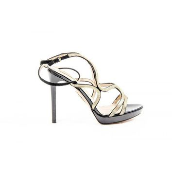 ONETOW Aquazzura Firenze Womens Sandal MARTINI GOLD BLACK GOLD LEATHER CHAIN