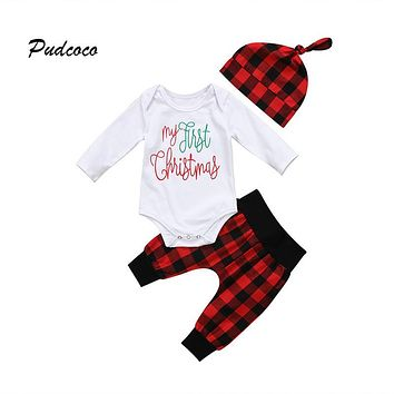 My First Christmas Newborn Baby Clothing Long Sleeve Cotton Romper Bodysuit Red Plaid Harem Pant Hat 3PCS Kids Clothing Set