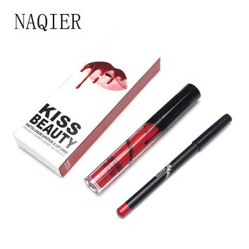 NAQIER Beauty Matte Liquid lipstick Makeup Waterproof Long Lasting Moisturizer Lip gloss Cosmetic lip kit+Lip Liner pencil kilie