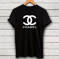 """CHANEL""Hot Sale letters print Black T-shirt top B"