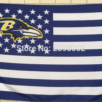 Baltimore Ravens Classic USA Stripes Banner Flag Polyester grommets 3' x 5' Custom metal holes Hockey Baseball Football Flag