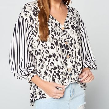 Animal Print Faux Button Up With Contrast Balloon Sleeves