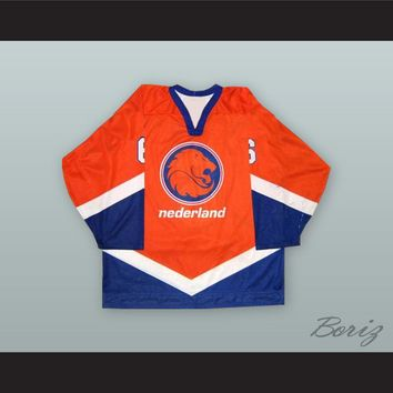 Ivy van den Huevel 6 Netherlands National Team Orange Hockey Jersey