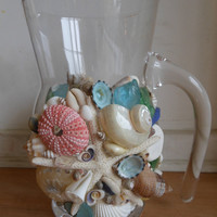 Glass Seashell Pitcher Handmade Pitcher for by LiveCoastal