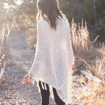 Alpine Poncho - TWEED cable knit poncho with tassel fringe - knit shawl - knit pull over - grace and lace
