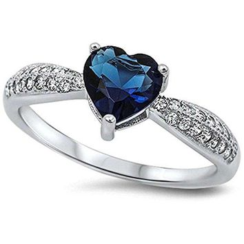 Simulated Blue Sapphire Heart amp Pave Cubic Zirconia 925 Sterling Silver Ring Sizes 410