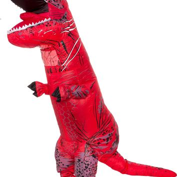 Splurge Worthy Toys and Games Inflatable Dinosaur Costume - Adult Giant Jurassic T-Rex Blow Up Halloween Costume by (Red)