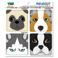 Dog Faces Close-up Pug Australian Shepherd Boston Terrier Husky MAG-NEATO'S TM Car-Refrigerator Magnet Set