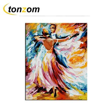 RIHE Ballroom Dancing Diy Painting By Numbers Colorful Oil Painting Cuadros Decoracion Acrylic Paint On Canvas Modern Wall Art