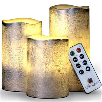 Textured Silver Set With Warm White Flame Flameless Wax Candles Remote and Timer