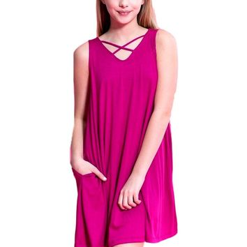 Tween Criss Cross Dress, Magenta