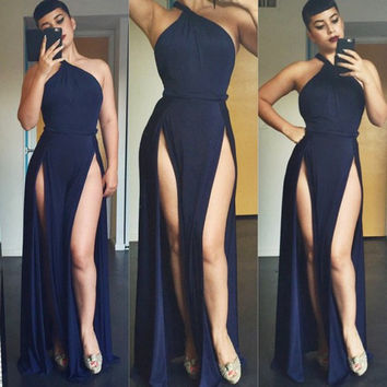 Oblique Shoulder Sheath A-Line Maxi Slit Dress