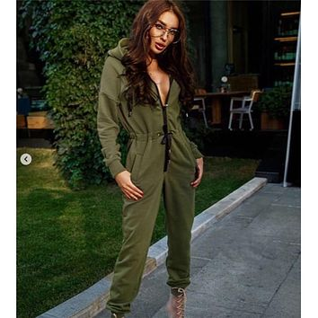 Long Sleeve Solid adult all-in-one piece jumpsuit jump zip hoody by Nordic Way rompers daffedress fleece unique
