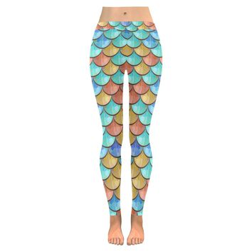 River Fish Scales Low Rise Leggings (Invisible Stitch) (Model L05)