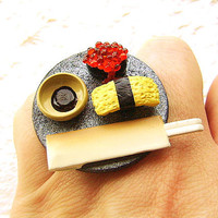 Sushi Ring Egg Tobiko Sushi by SouZouCreations on Etsy