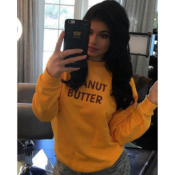 Yellow Letter Print Sweater