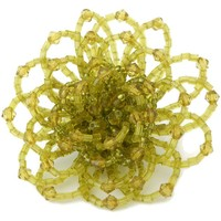 Glass Bead Brooch Woven Flower Green Yellow