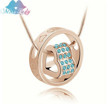Miss Lady Platinum Plated Rhinestone Crystal design Heart Necklaces Pendants Fashion necklaces for women MLY4113