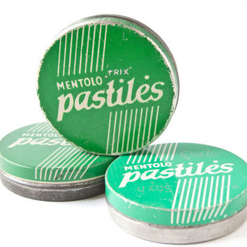 Vintage metal candy boxes tin cans green mint tones by SovietEra