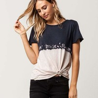 SOCIALITE Dip Dye Distressed Womens Tee | Knit Tops + Tees
