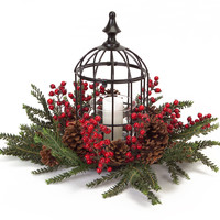 Sub Zero Collection Pine/Berries/Cones Centerpiece