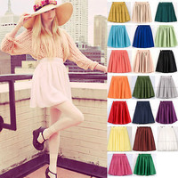 Retro High Waist Double Chiffon Mini Skirt