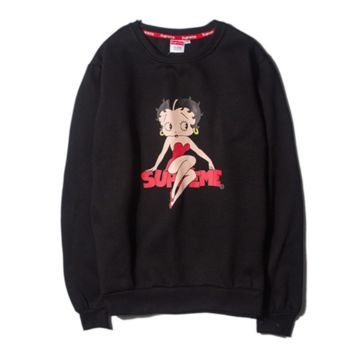"""Supreme"" girl Fashion long sleeve loose sweater Black"