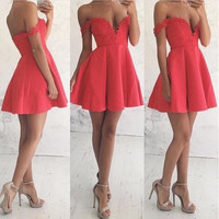 Homecoming Dress, A-line Off-the-shoulder Cocktail Dresses Lace Mini Short Prom Dresses