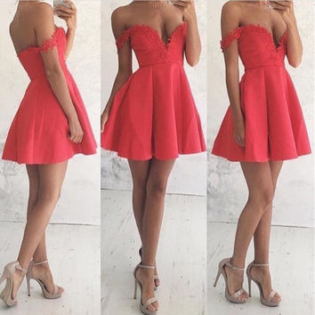 Red Deep V Neck Homecoming Dress, Applique A Line Open Back Homecoming Dress