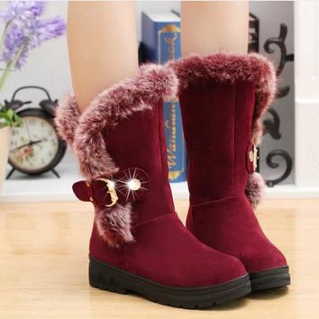 One-nice™ The new fall and winter snow boots with thick round female rabbit boots large thermal code in the tube snow boots