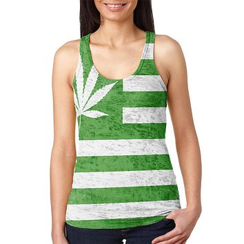 American High Pot Leaf Flag Juniors Burnout Racerback Tank Top