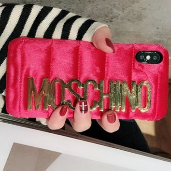 Moschino iPhone 7  8 iPhone 7 8 plus - Stylish Cute Metal Logo Phone Case For iphone 6 6plus  iphone X Red
