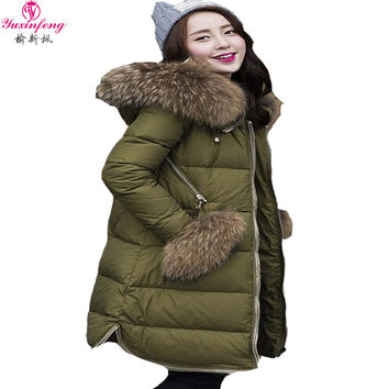 2017 Autumn Raccoon Fur collar Winter Jacket Women Parkas Thick Winter Coat Elegant Slim Hooded Women Duck Down Jackets Green