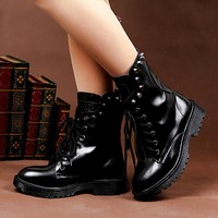 Retro Warm Rivet Leather British Short Boots